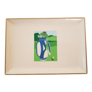 Otagiri Tray Ivory Laquor Golf Sports Curtis Swann Image For Sale