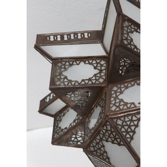 Islamic Moroccan Moorish Star Shape Frosted Glass Light Shade For Sale - Image 3 of 10