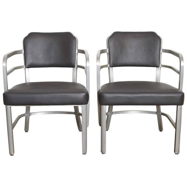 Pair of Machine Age Art Deco Leather GoodForm Armchairs Brushed Aluminum For Sale - Image 11 of 11