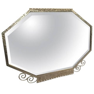 French Art Deco Nickel Plated Wall Mirror For Sale