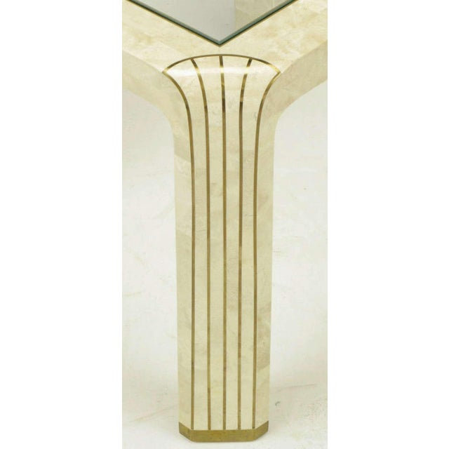 Pair Tessellated Fossil Stone & Inlaid Brass Side Tables - Image 8 of 8