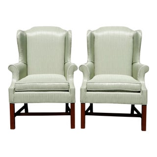 Chippendale Style Wingback Chairs - a Pair For Sale