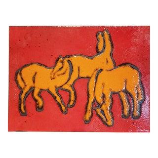 Bay Keramik 'Pferde' (Horses) Wall Plate 1967 For Sale