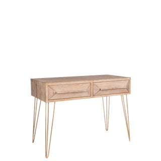 Contemporary Le Marais Wood Desk With Gold Hairpin Legs For Sale