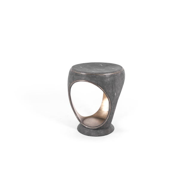 Metal Ring Stool in Black Shagreen and Bronze-Patina Brass by R&y Augousti For Sale - Image 7 of 13