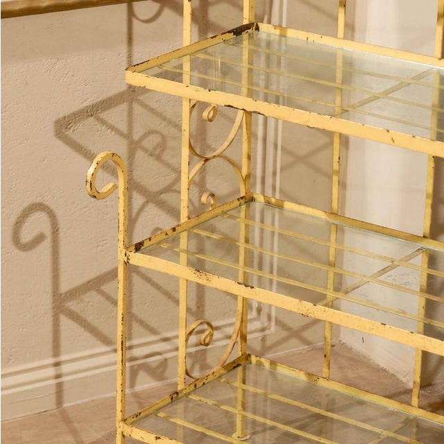Mid-Century Yellow Iron Baker's Rack - Image 6 of 6