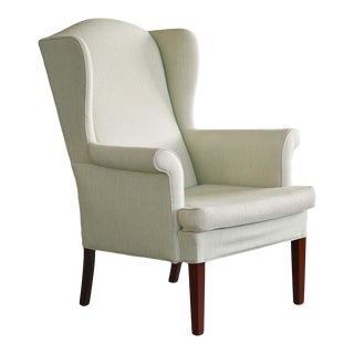 Classic Danish Midcentury Wingback Chair in Light Green Wool For Sale