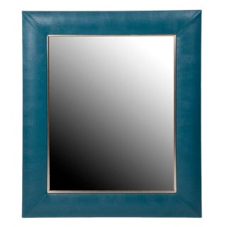 Teal Blue Lizard Leather Framed Mirror For Sale