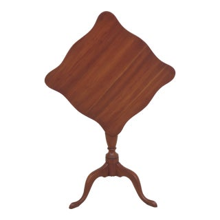 1960s Traditional Henkel Harris Cherry Tilt Top Candle Stand Table For Sale