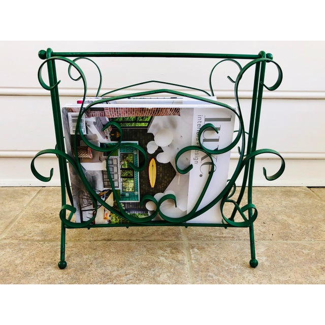 Mid-Century Modern Green Wrought Iron Magazine Rack For Sale In Charlotte - Image 6 of 10