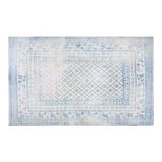 "1920s Traditional Blue and White Cotton Rug - 4'7""x7'8"" For Sale"