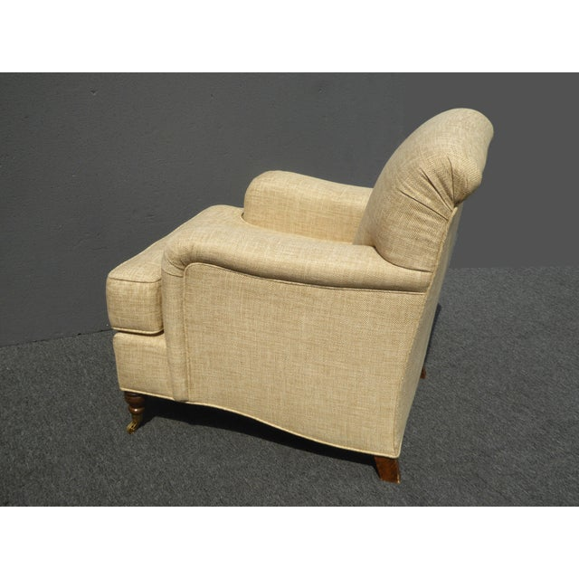 Restoration Hardware Style Beige Linen Blend Accent Chair & Ottoman For Sale In Los Angeles - Image 6 of 11