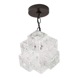1960s Italian Glass Cube Chandelier by Poliarte For Sale