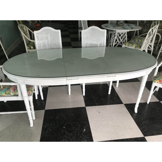Hollywood Regency Palm Beach Style White Faux Bamboo Dining Set For Sale - Image 3 of 6