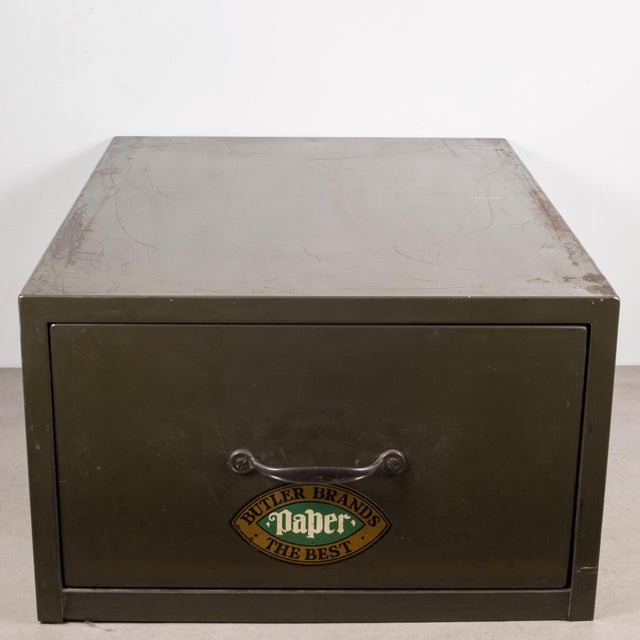 Industrial Army Green Factory Cabinet C.1940 For Sale - Image 10 of 10