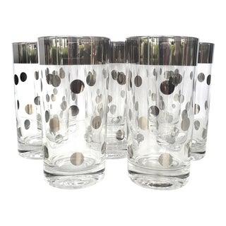 Dorothy Thorpe Mid-Century Modern Silver Rim Polka Dot Glasses - Set of 8 For Sale