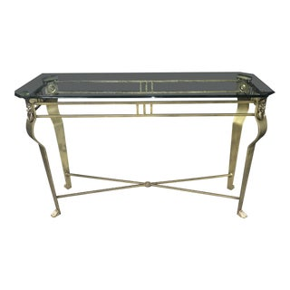 Regency Brushed Brass and Glass Lion Console Table For Sale