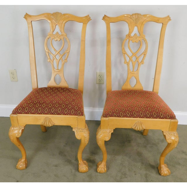 Lexington Furniture Lexington Solid Pine Chippendale Style Ball & Claw Carved Pair Side Chairs For Sale - Image 4 of 13