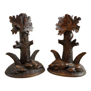 Antique French Oak Pair 19th Century Black Forest Hand Carved Candlesticks Candle Holders For Sale