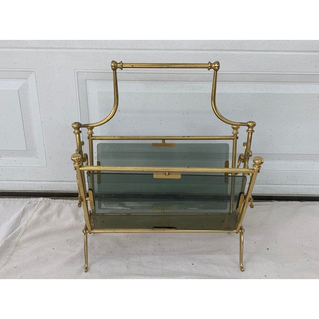 1960s Vintage Maison Bagues Brass and Smoked Glass Magazine Rack For Sale - Image 5 of 8