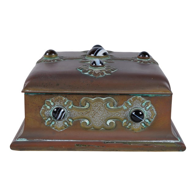 Rare Antique Banded Agate & Brass Renaissance Style Box For Sale