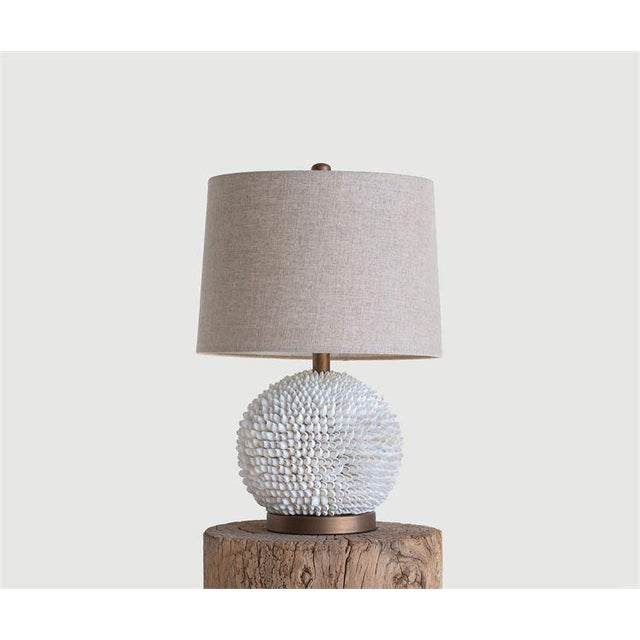 Modern Natural Shell Table Lamp With Natural Linen Shade For Sale - Image 3 of 4