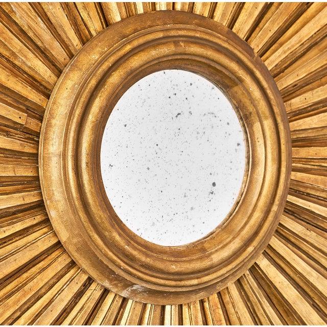 Gold Pair of Italian Antique Sunburst Mirrors For Sale - Image 8 of 10
