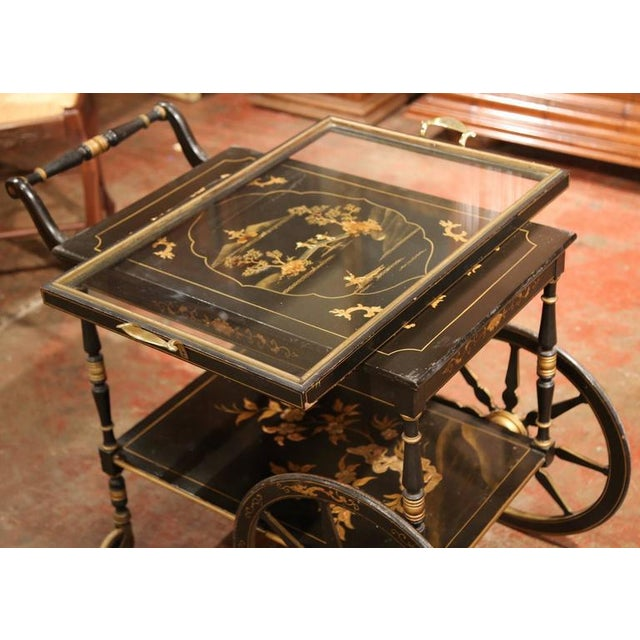 Early 20th Century French Chinoiserie Hand Painted Bar Cart For Sale In Dallas - Image 6 of 10