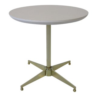 Mid Century Pedestal Brass/Round Top Side Table For Sale