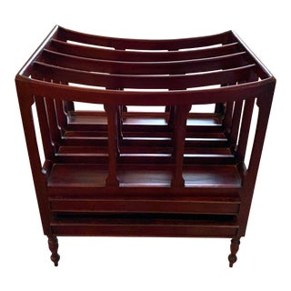 English Mahogany Magazine Rack With Two Drawers For Sale