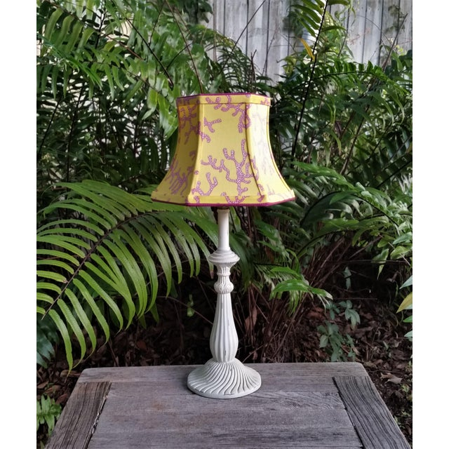 White Lilly Pulitzer Fabric Lampshade Yellow Pink Coral Clip On For Sale - Image 8 of 11