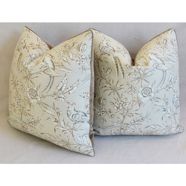 """Scalamandre Aviary & Velvet Feather/Down Pillows 21"""" Square - Pair For Sale - Image 9 of 13"""