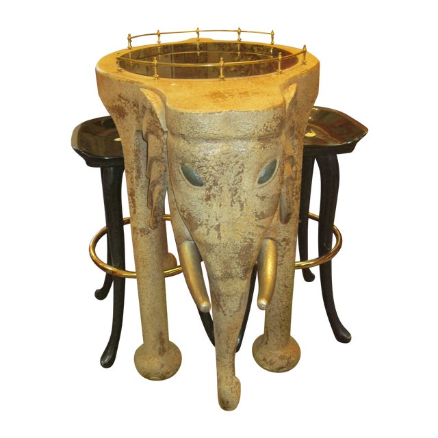 Marge Carson Elephant Bar Table And Stools For Sale