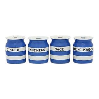 English Cornishware Spice Jars - Set of 4 For Sale