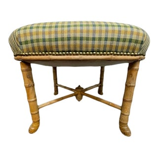 1960s Vintage Faux Bamboo Upholstered Stool For Sale