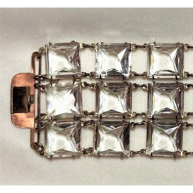 Mid-Century Clear Faceted Crystal Bracelet For Sale In Los Angeles - Image 6 of 9