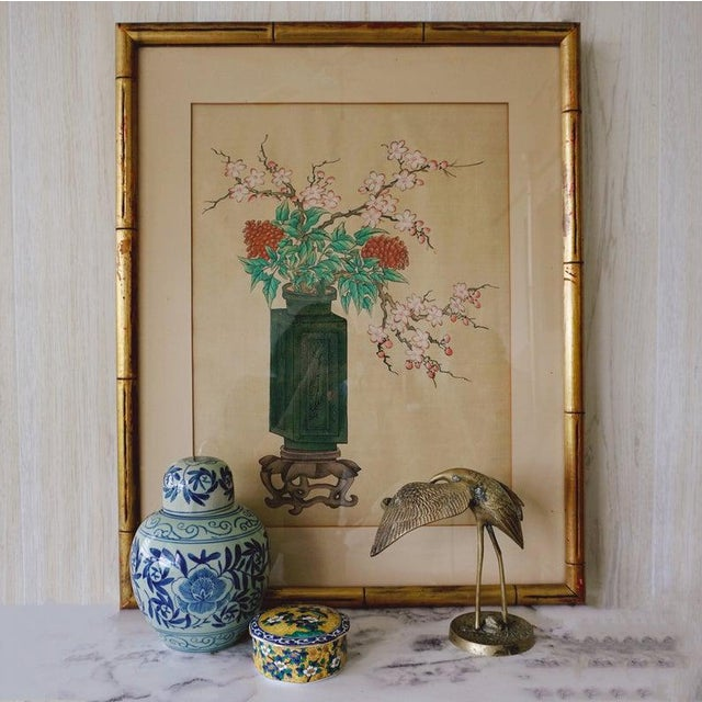 Let this beautiful piece of art bring a moment of zen to your living space. Features · Hand painted on silk · Chinese vase...