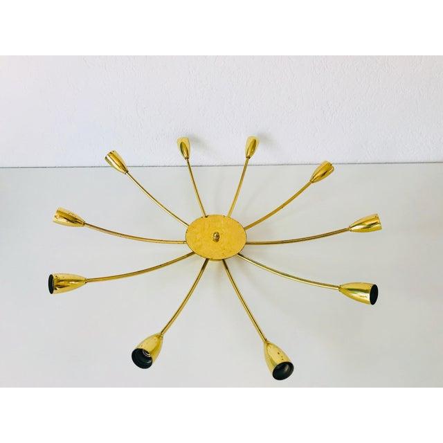 1960s 1960s Mid-Century Modern Brass Sputnik 8-Arm Chandelier, Germany For Sale - Image 5 of 11