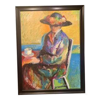 Vintage Mid-Century Expressionistic Portrait Painting For Sale