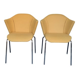 Steelcase Arm Chairs, by Coalescce, With Polished Chrome Legs - Pair For Sale