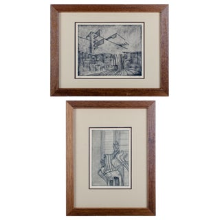Modernist Architectural Engravings - A Pair For Sale