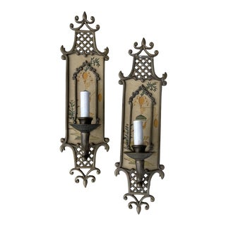 Hand Painted Brass Chinoiserie Lightes Scones - a Pair For Sale