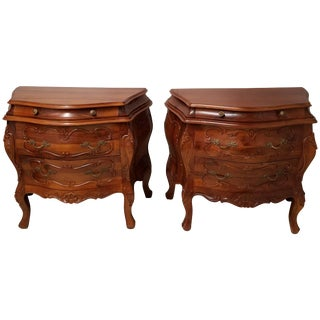 Vintage Mid-Century Italian Rococo Walnut Bombe Commodes - A Pair For Sale