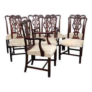 Vintage Mid Century Georgian Style Dining Room Chairs- Set of 8 For Sale