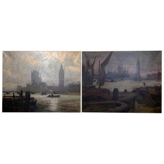 Pair of Large Oil on Canvas Paintings of London For Sale