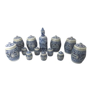 Late 19th C. Black Forest Salt Glaze Stoneware Spice Set - 13 Pieces For Sale