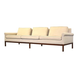Mid Century Walnut White Beige Sofa For Sale