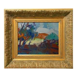 Jose Trujillo Modern Impressionism Oil Painting Framed Bright Desert Landscape For Sale