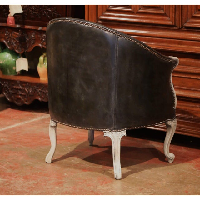 Green Large 19th Century French Louis XV Carved Painted Desk Armchair With Leather For Sale - Image 8 of 9