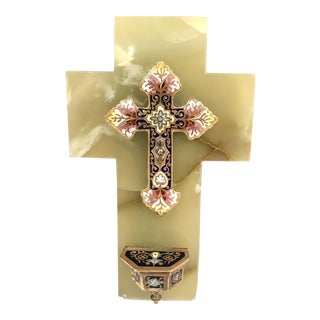 19th Century French Green Marble Cross and Holy Water With Cloisonné Technique For Sale